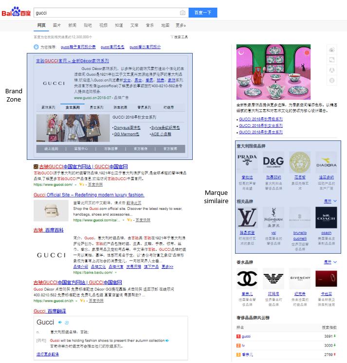 Anatomie d'une SERP Baidu